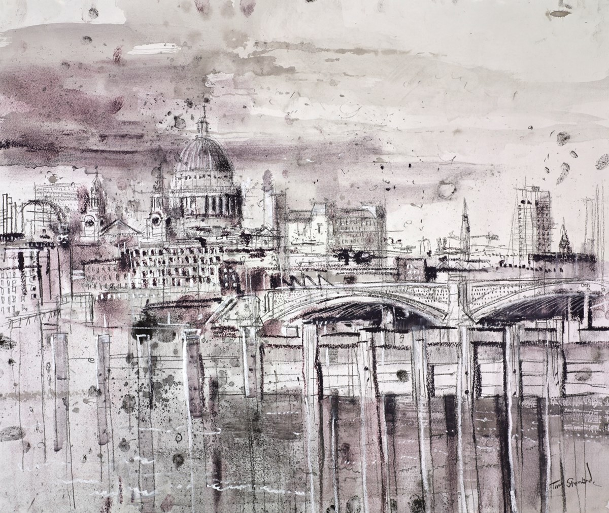 St Paul's and Blackfriars Bridge, London by tim steward -  sized 26x22 inches. Available from Whitewall Galleries
